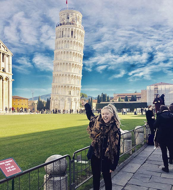 Student with Leaning Tower
